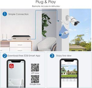 7. ZOSI PoE Home Security Camera System for 24 Recording
