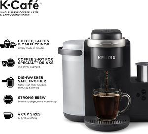11. Keurig K-Cafe Coffee Maker, Compatible With all K-Cup Pods