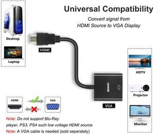 5. Benfei Gold-Plated HDMI to VGA Adapter