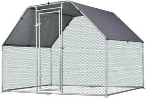 6. PawHut Galvanized Metal Chicken Coop Cage with Cover