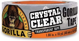 "7. Gorilla Crystal Clear Duct Tape, 1.88"" x 18 yd"