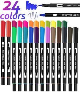 8. 24 Colors Dual Tip Brush Pen Art Markers