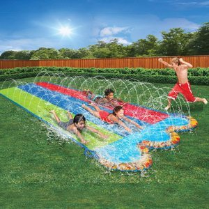 9. BANZAI Triple Racer Water 16 Feet Long, Slide