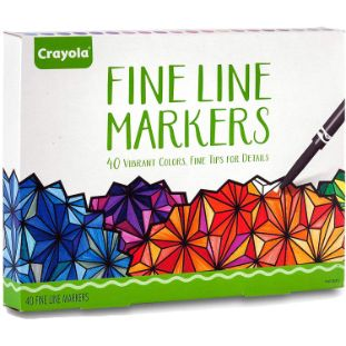 1. Crayola Fine Line Markers for Adult Coloring Book, 40 Count