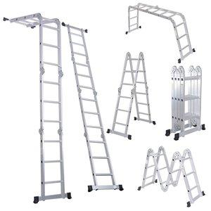 3. Luisladders Folding Ladder Multi-Purpose Aluminum Extension 7 in 1 Step Heavy Duty Combination EN 131 Standard (12.5 Feet)