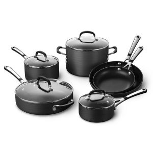 #3. Simply Calphalon Cookware Sets 10 Piece
