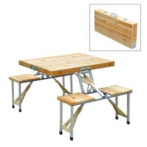 4. Outsunny 4 Person Wooden Portable Compact Picnic Table Set
