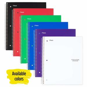 5. Five Star Spiral 5-Subject Notebook Color Selected For You