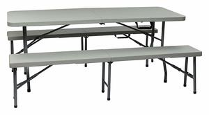 6. Office Star Resin Folding Bench and Table Set