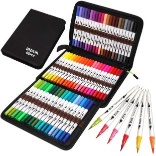 6. ZSCM Coloring Art Markers Set, Dual Tips Fine Point Marker