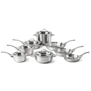 #8. Best Calphalon Cookware Set, Contemporary Stainless 13-Piece Set