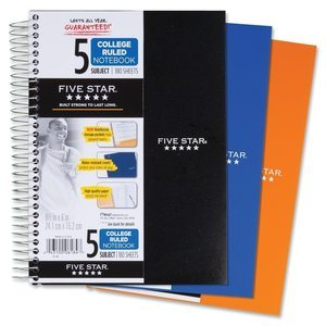 9. Five Star Spiral 5-Subject Notebook College Ruled