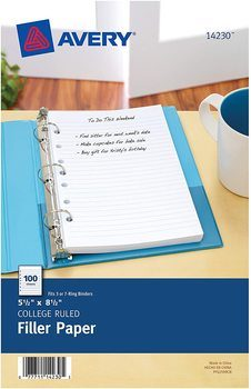 2. Avery Mini Binder Filler Paper