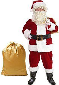 4. ADOMI Santa Suit 10pc. Plush Adult Costume