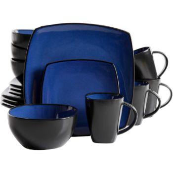 7. Gibson Soho Lounge Dinnerware Set, Square, Blue