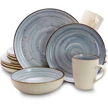 8. Elama Round Stoneware Luxurious Mellow Dinnerware Dish Set