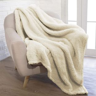1. PAVILIA Plush Sherpa Throw Blanket, Solid Ivory Cream