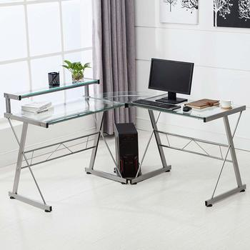 10. Mecor L-Shaped Corner Glass Computer Desk
