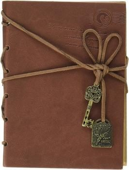 11. OliaDesign Diary String Key Leather Bound Notebook Brown