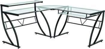 2. Z-Line Belaire Glass L-Shaped Computer Desk