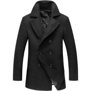 2. chouyatou Men's Classic Notched Collar Coat