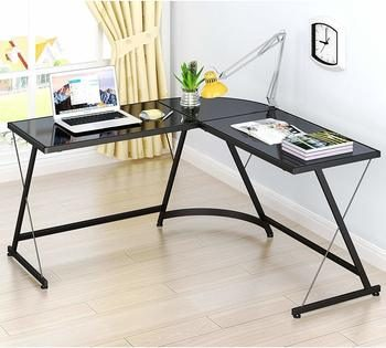 3. SHW L-Shaped Home Office Corner Glass Computer Desk