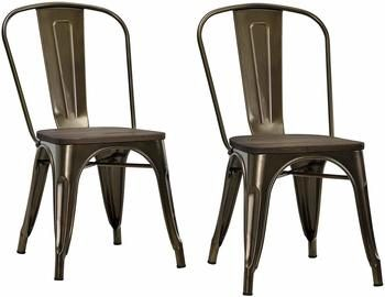 5. DHP Fusion Metal Dining Chair with Wood Seat