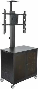5. Display2go Heavy Duty TV Stand with locking storage Cabinet