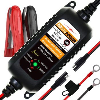 6. MOTOPOWER MP00205A 12V 800mA Automatic Battery Charger