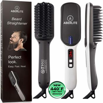 7. Aberlite MAX Flat Iron - Beard Straightener for Men
