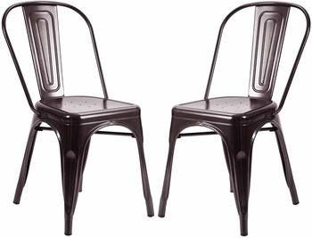 7. Metal Dining Chair Stackable Chairs Set of 2