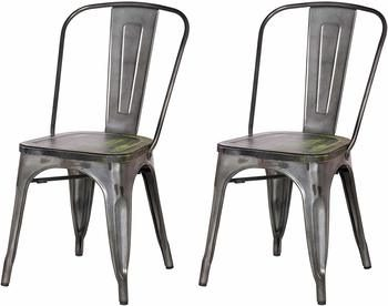 8. Adeco Metal Stackable Dining Bistro Cafe Side Chairs
