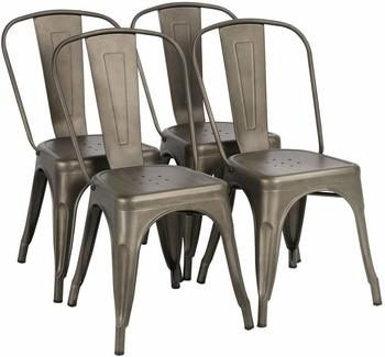 9. Yaheetech Iron Metal Dining Chairs