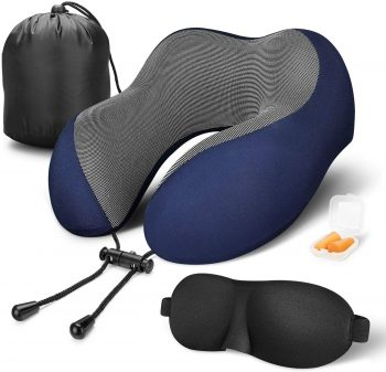 MLVOC Travel Pillow 100% Pure Memory Foam Neck Pillow
