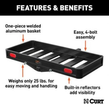 6. CURT 18113 Aluminum Hitch Cargo Carrier