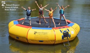 4. Island Hopper 17' Bounce N Splash Padded Water Bouncer
