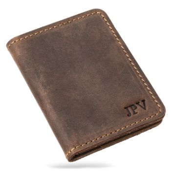 2. PEGAI Personalized Rustic Leather Wallet