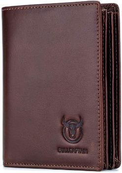 5. Bullcaptain Large Capacity Genuine Leather Bifold Wallet