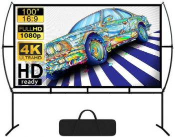 9. Blina 100-inch Portable Projector Screen with Stand